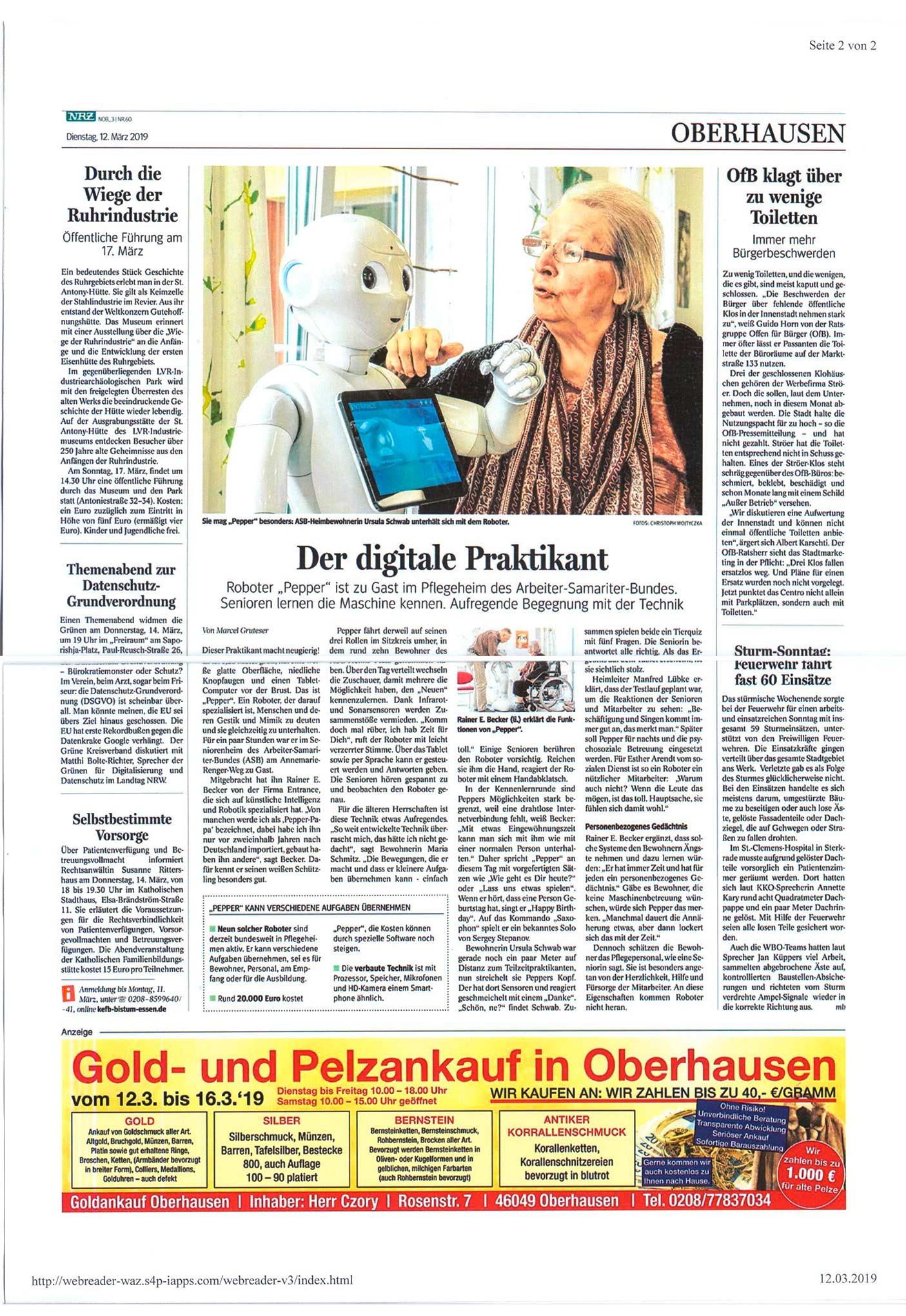 Der digitale Patient im Demenzhaus ASB Oberhausen