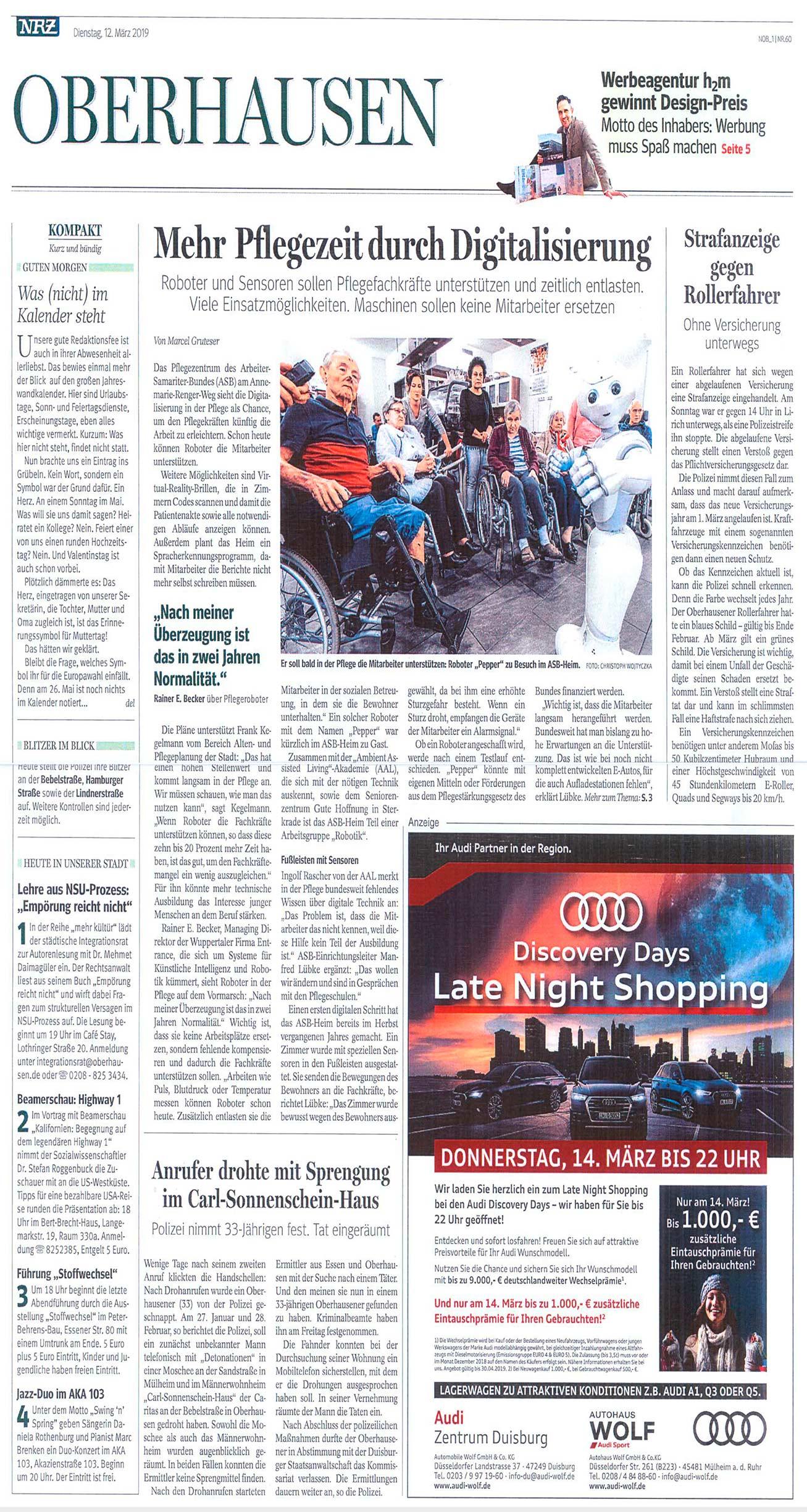 Mehr Pflegezeit duch Digitalisierung - NRZ