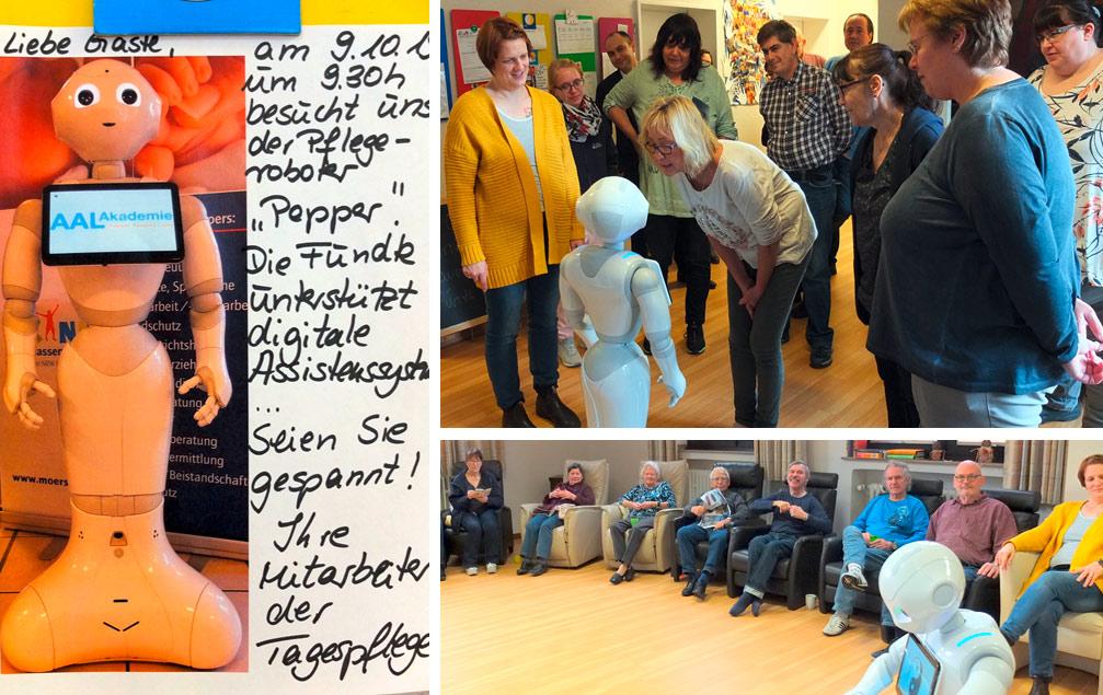 Robotik - Pepper besucht die tagesplfege der fundk in Bochum