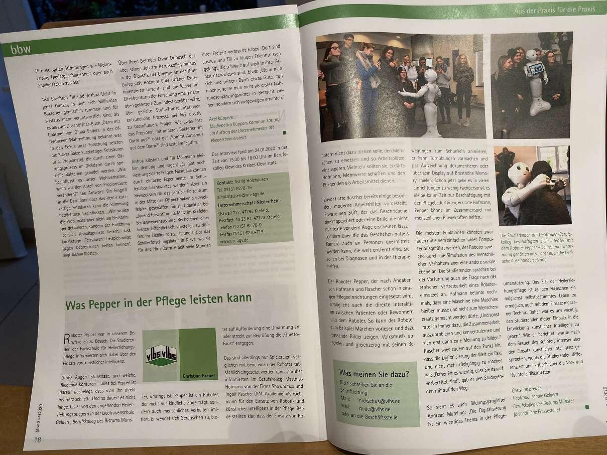 Artikel: Was Roboter in der Pflege leisten können - Zeitschrift bbw Heft 4/April 2020