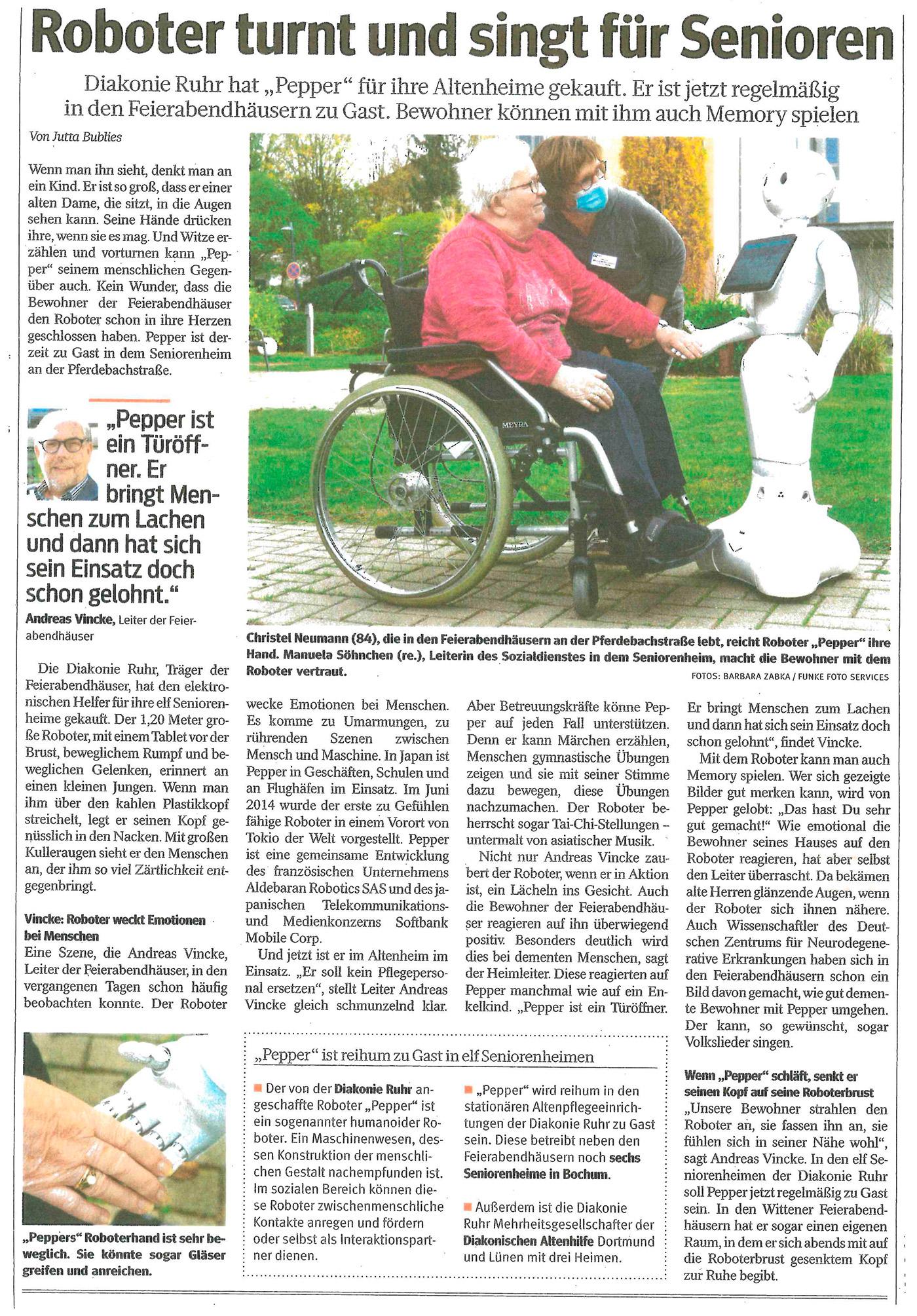 Robotor turnt und singt für Senioren WAZ_18.11.2020